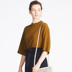 Uniqlo Brown Drape Mock Neck 3/4 Sleeve Blouse NWT
